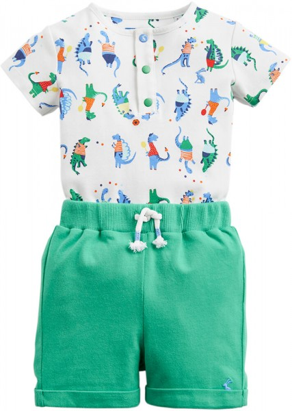 Joules Set Body & Shorts grün weiß 203121 1