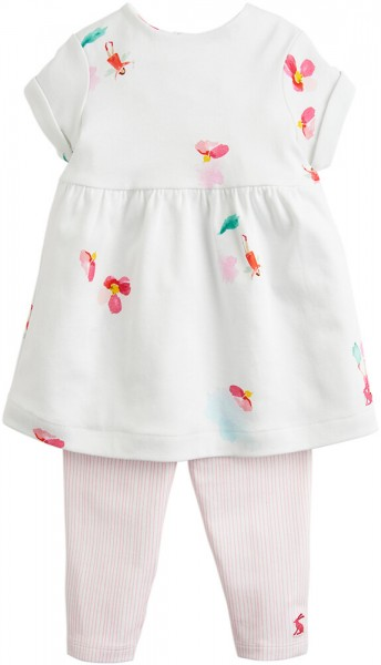 Joules Set Kleid & Leggings rosa weiß 201202 1